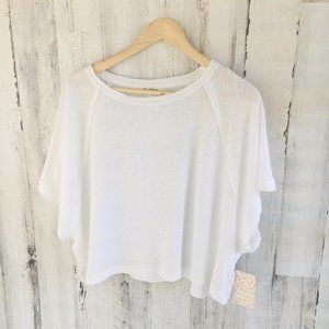 Free People Weekend T-Shirt White Linen Blend Tee